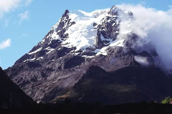 Wonderful Snow-capped Mountain Pitusiray, in the Sacred Valley of the Incas